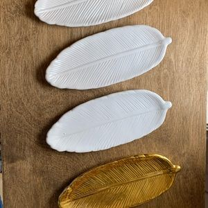 Ceramic Feather Trinket Dishes